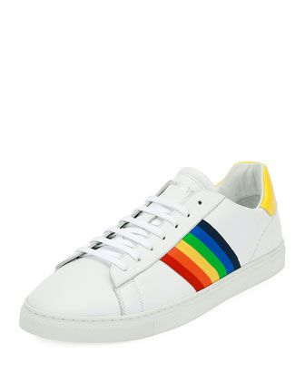 3a5f8e1243 Men's Rainbow-Stripe Low-Top Sneakers | casual rainbow clothes in ...