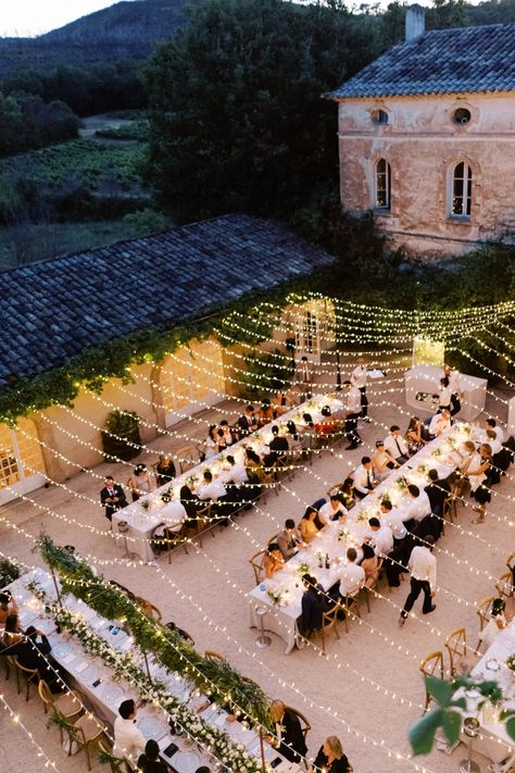 You Have to See This Romantic French Chateau Wedding Dripping in Strings of Fairy Lights French Chateau Wedding Inspiration, Chateau Wedding Decor, French Wedding Decor, Wedding Venue Inspiration, 1920s Wedding, Wedding Ideas, Wedding Pictures, Fairy Lights Wedding, Wedding Lighting Decor