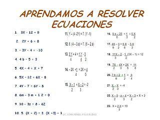 Arriba La Matematica Ecuaciones De Primer Grado Con Una Incognita Ecuaciones Primeros Grados Actividades De Matematicas