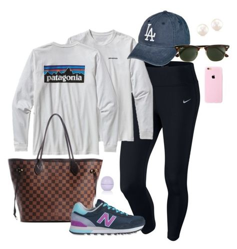 """""""Running errands"""" by kennedyrush ❤ liked on Polyvore featuring mode, NIKE, Patagonia, Louis Vuitton, New Balance, J.Crew et Topshop"""