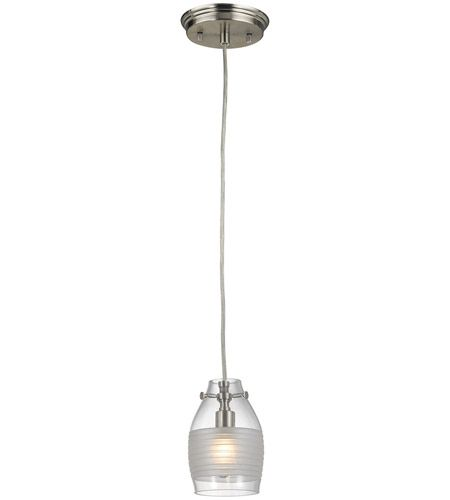 Carved Glass 1 Light 4 Inch Brushed Nickel Mini Pendant Ceiling