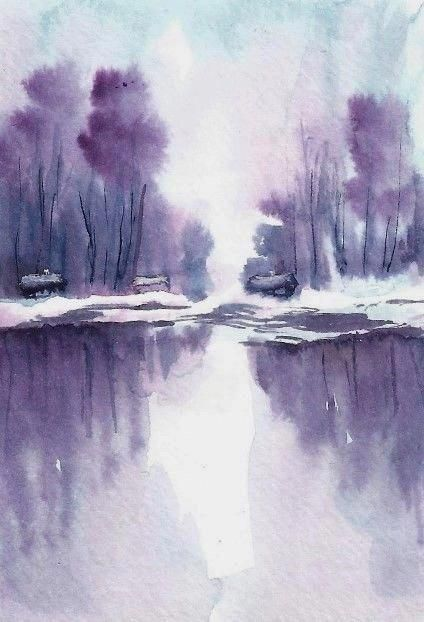 Aceo Original Snow Painting River Cabin Winter Landscape