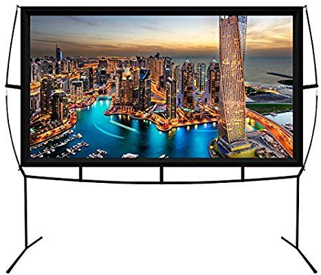 Amazon Com Jumbo 100 Inch 16 9 Portable Outdoor And Indoor Theater Projector Screen With Stand Legs Large Projector Screen Projector Screen Outdoor Projector