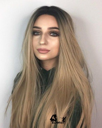 Sd014 24 Natural Butterscotch Blonde With Dark Roots Straight Synthetic Lace Front Wig Blonde With Dark Roots Blonde Hair With Roots Balayage Straight Hair