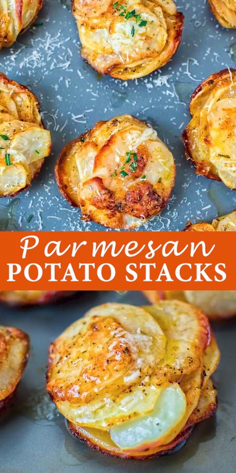 Crispy on the outside and soft on the inside, these flavorful Parmesan Potato Stacks make a great snack, or a side dish. FOLLOW Cooktoria for more deliciousness! #potatoes #dinner #vegetarian #easyrecipe #yummy #recipeoftheday #sidedish