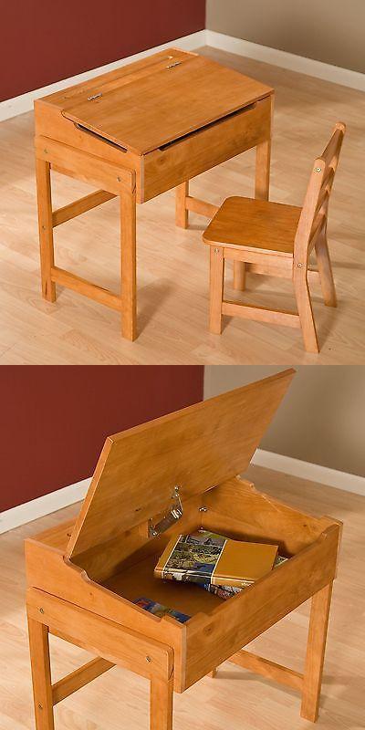 Desks 115750: Vintage Children Desk And Chair Set Flip Top ...