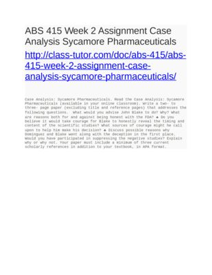 Abs  Week  Assignment Case Analysis Sycamore Pharmaceuticals