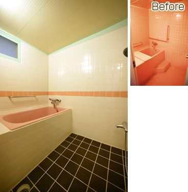 浴室の床には 浴室床用コルクタイルを貼りました 浴室リフォーム