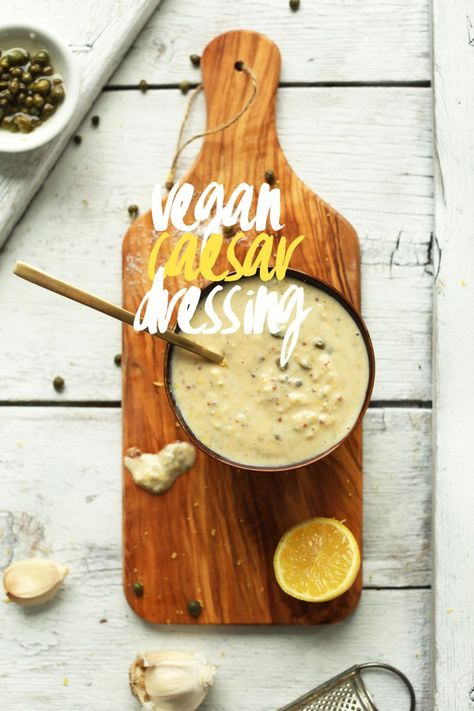 EASY 5-minute Vegan Caesar Dressing with Capers, Lemon Juice and Zest, and Dijon Mustard! No soaking cashews or blending involved #vegan #glutenfree #dressing #caesar #recipe #salad #minimalistbaker