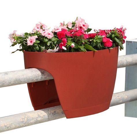 Greenbo Railing Deck And Balcony Planter Set Of 6 Terracotta