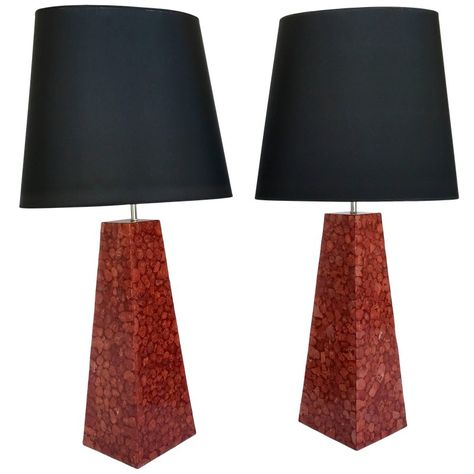 Pair of Lamps Pyramidal Coral Veneer, Italy, 1980s in 2020