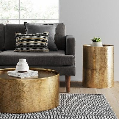 Manila Hammered Barrel Coffee Table Brass Project 62