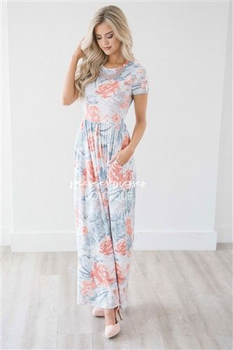 b4cd6fe7744c Pastel Tropical Floral Spring Maxi Modest Dress | Best and Affordable Modest  Boutique | Cute Modest Dresses and Skirts for Church
