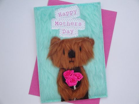Happy Mother's Day card handmade in lovely soft fur