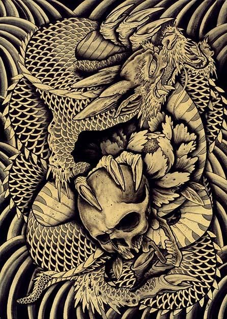 Taken by Clark North Chinese Dragon Skull Asian Tattoo Artwork Print – moodswingsonthenet