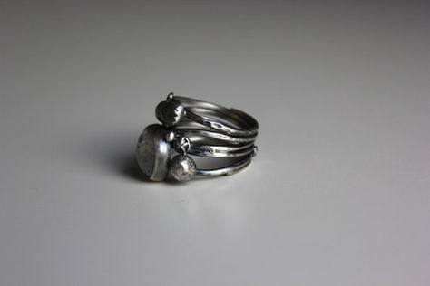 Personal Galaxy Ring..sterling silver moonstone by gallerydarrow