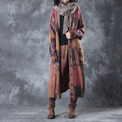 Artistic Designer Wool Woman Sets    #cardigan #pants #trousers #style