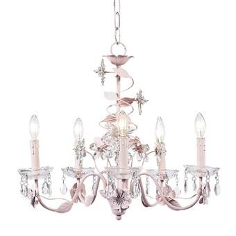 Guyette 6 Light Candle Style Classic Traditional Chandelier Flower Chandelier Pink Chandelier Nursery Chandelier