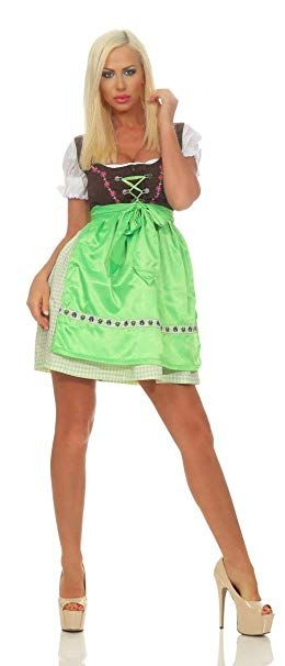 Mode Damen Dirndl 3 tlg.Trachtenkleid Kleid Bluse Schürze Oktoberfest Trachten