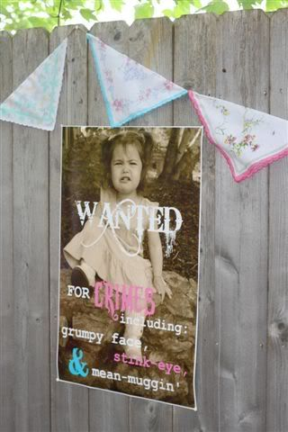 "Vintage cowgirl party for a toddler.  Love the ""Wanted"" poster (crimes include ""grumpy face"" and ""stink eye"")."