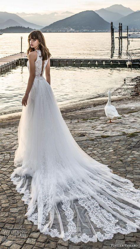 pinella passaro 2018 bridal sleevless halter neck heavily embellished bodice romantic a line wedding dress open slit back royal train bv -- Pinella Passaro 2018 Wedding Dresses