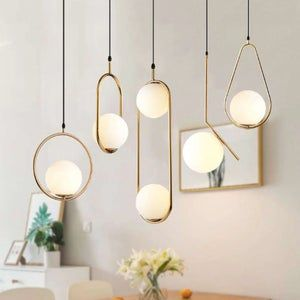 Nordic Metal + Glass Ball Pendant Lights, Dinning Area Lamps, Pendant Lamps, Ceiling Lights, Living