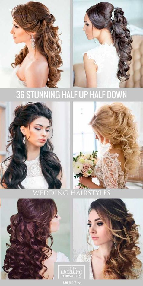 #weddinghairstyles - Half up half down wedding hairstyles are timeless and true. Check out these 42 elegant and stunning half updo looks for your wedding day!...