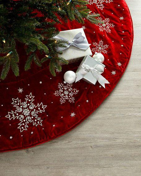D Stevens Velvet Snowflake Tree Skirt Snowflake Tree Skirt Diy Christmas Tree Skirt Machine Embroidery Christmas