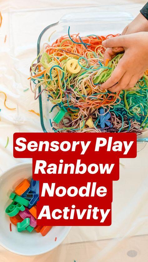 Sensory Play Rainbow Noodle Activity