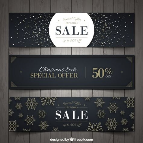 Set of three elegant christmas discount banners Free Vector