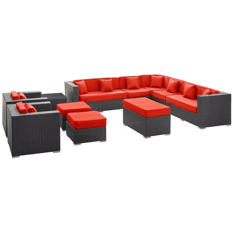 East End Imports Eei 723 Exp Red Set Cohesion Outdoor Wicker Patio 11 Piece Sectional Sofa In Espresso With Cushions