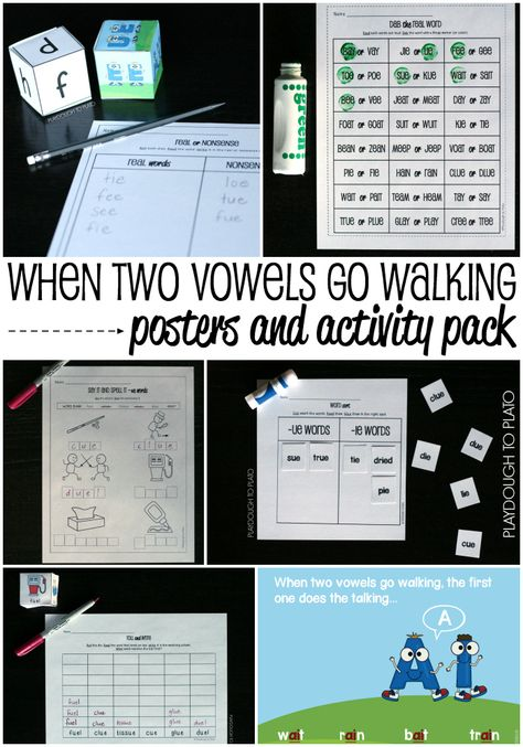 When Two Vowels Go Walking Posters and Activity Pack. SO HELPFUL for teaching kids the when two vowels go walking phonics rule.