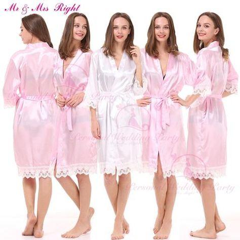 0e19bc20de Fashion Lace Bath Robes Solid Bride Gown Soft Kimono Nightwear Wedding  Clothes Sexy Stain Bathrobes Gown 8 Colors