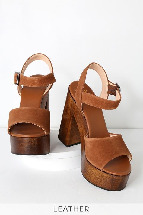 Stand out from the crowd in the Lulus Lolita Leather Cognac Suede Wooden Platform Heels! These trendy heels have a genuine suede peep-toe upper. Sock Shoes, Cute Shoes, Me Too Shoes, Flat Shoes, Tan Heels, Suede Heels, Sandal Heels, Heeled Sandals, Wedge Sandals