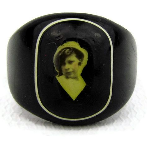Black celluloid photo ring , mourning or sweetheart, saucy young girl, ring size 10