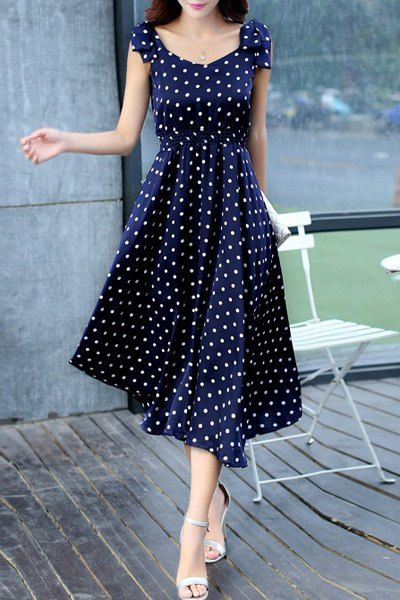 Sweet Sleeveless Scoop Neck Bowknot Design Polka Dot Dress For Women