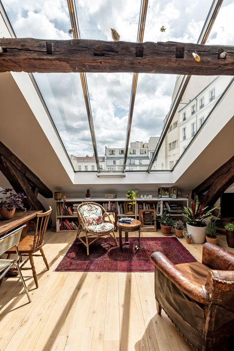 The Nordroom - Attic Apartment in Paris with Huge Skylight and Exposed Beams #paris #parishome #skylight