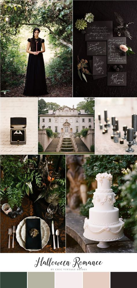 Halloween Romance - Wedding Inspiration in Black, Green  Neutrals