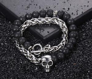 Prime Steel Stone Creativity Skull Head Bracelet Stone Bracelet Lava Bracelet Link Bracelets
