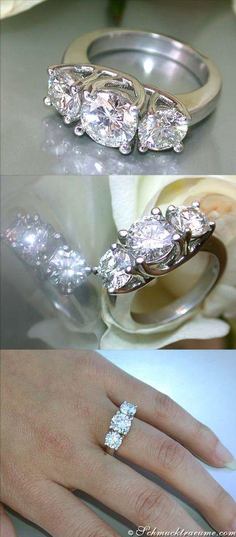 A true jewel: Three Solitaire Diamond Ring, 3,28 cts. H/G-SI2/SI1, Platinum-950 - Find out: schmucktraeume.com - Like: https://www.facebook.com/pages/Noble-Juwelen/150871984924926 - Contact: info@schmucktraeume.com
