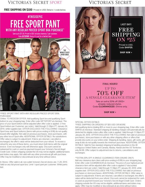 Pinned January 20th: Free sport pant with your sport bra today at #VictoriasSecret or online via promo code GIFTSPORT #coupon via The #Coupons App