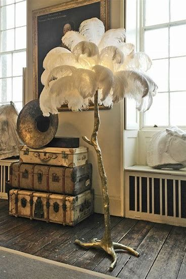 Ostrich Feather Tree Lamp Feather Lamp Feather Decor Luxury Home Decor