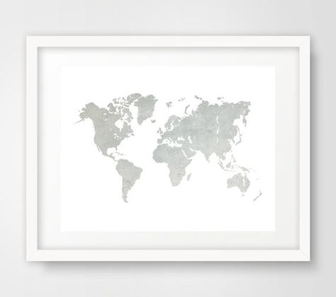 Turquoise World Map Art Print Download World Map Poster Large - Grey world map poster