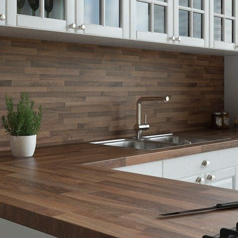 New Walnut Butchers Block Splashback 3000mm X 1200mm X 11mm Rearo Laminates Wooden Worktop Kitchen Open Layout Kitchen Living Room Wood Worktop
