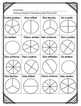 Fractions Worksheets Bilingual Spanish Math Fractions Worksheets Fractions Bilingual Math