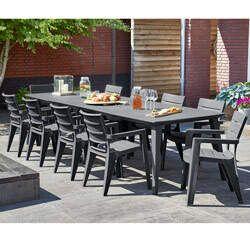 Salon de jardin: table LIMA 160/240/320 cm + 10 Fauteuils IBIZA ...