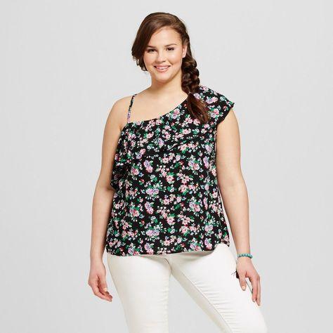 Women's Plus Size Floral Print One Shoulder Flounce Top Black 2X - Crave Fame (Juniors')