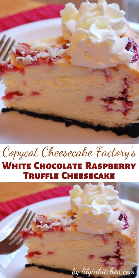 Recipe for Copycat Cheesecake Factory White Chocolate Raspberry Truffle Cheesecake -I like a rich cheesecake with nice height to it and I think a generous swirl of fresh whipped cream on top looks so Raspberry Cheesecake Cookies, Best Cheesecake, Cheesecake Desserts, Köstliche Desserts, Delicious Desserts, Dessert Recipes, White Chocolate Raspberry Cheesecake Recipe Cheesecake Factory, Whipped Cream Cheesecake, White Chocolate Pie Recipe