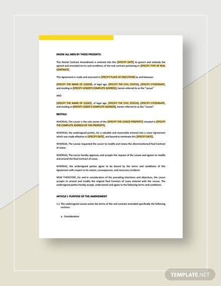 Rental Contract Amendment Templates Word Doc Words