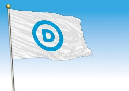 Democratic Party Flag United States Vector Illustration Editorial